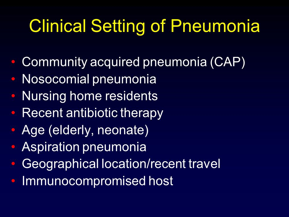 Clinical Setting of Pneumonia