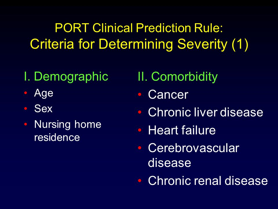 PORT Clinical Prediction Rule: Criteria for Determining Severity (1)