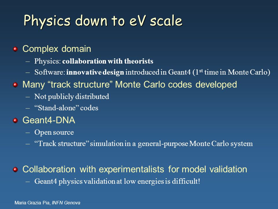 Physics down to eV scale