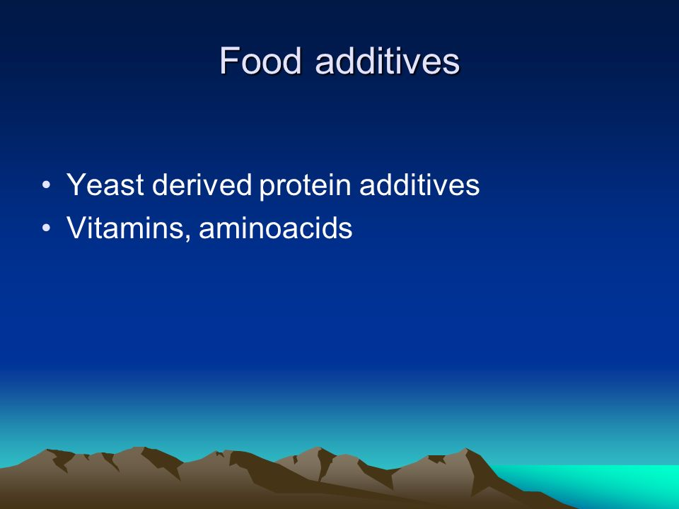 Food additives Yeast derived protein additives Vitamins, aminoacids