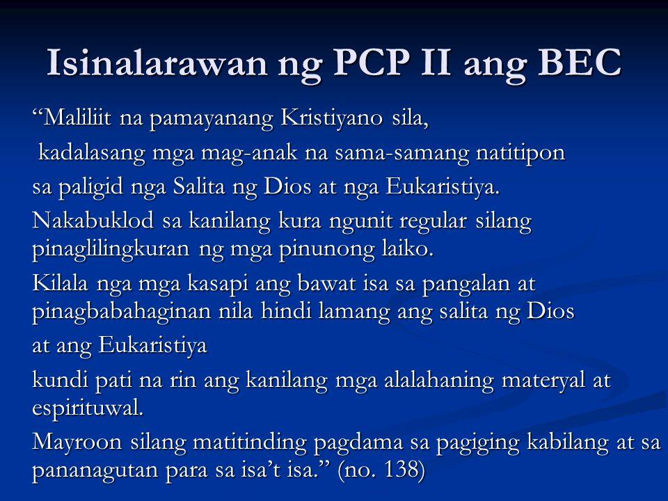 Isinalarawan ng PCP II ang BEC
