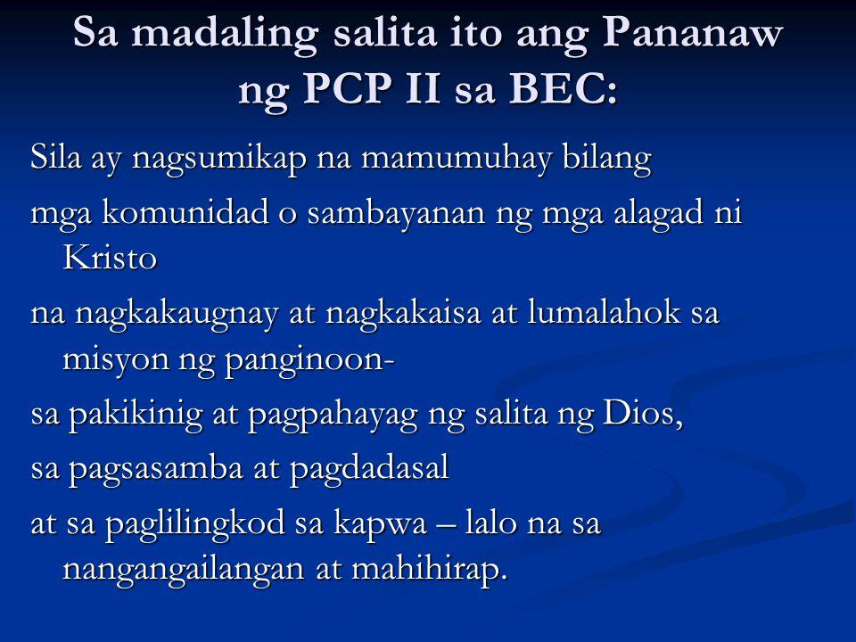 Sa madaling salita ito ang Pananaw ng PCP II sa BEC: