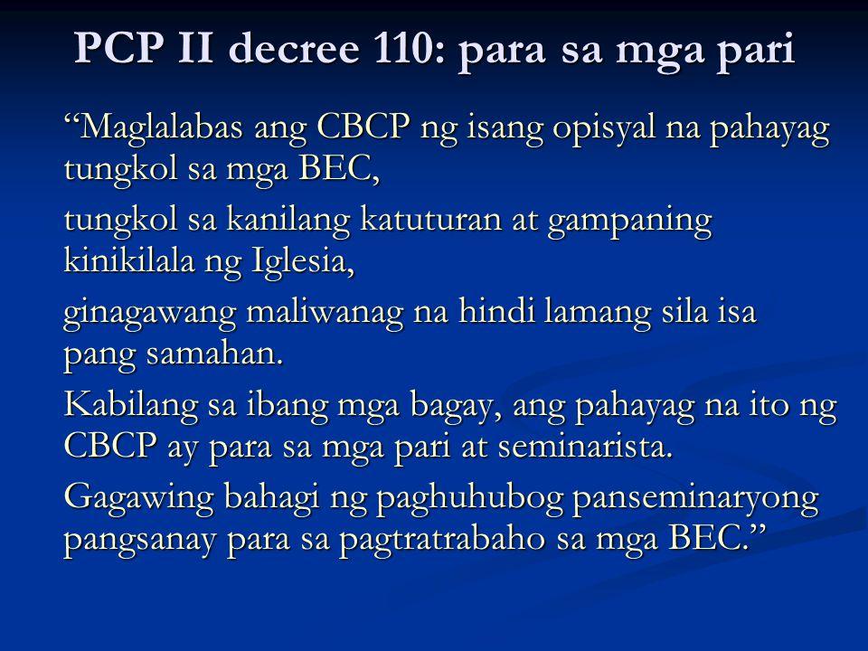 PCP II decree 110: para sa mga pari