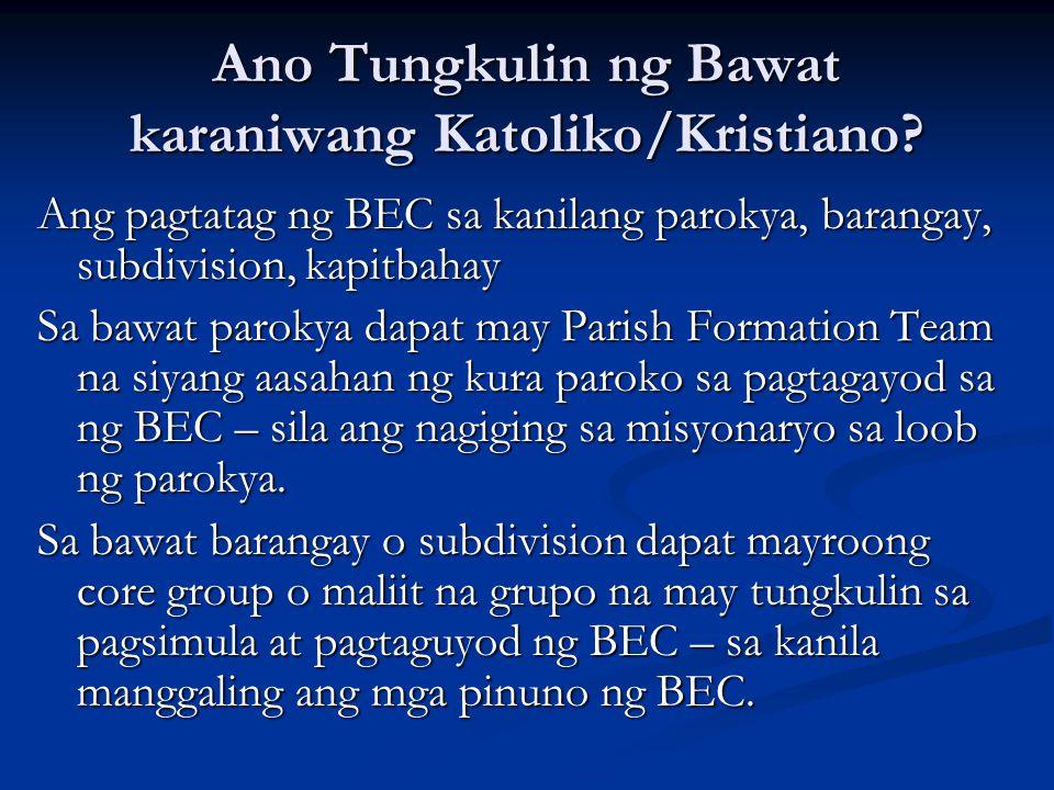 Ano Tungkulin ng Bawat karaniwang Katoliko/Kristiano