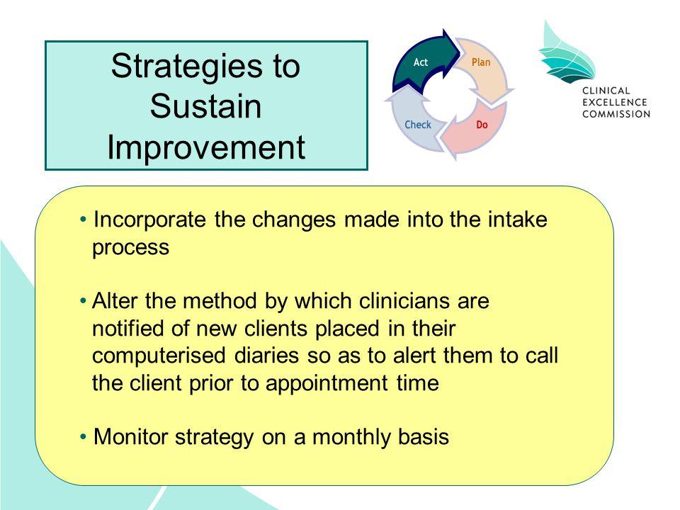 Strategies to Sustain Improvement