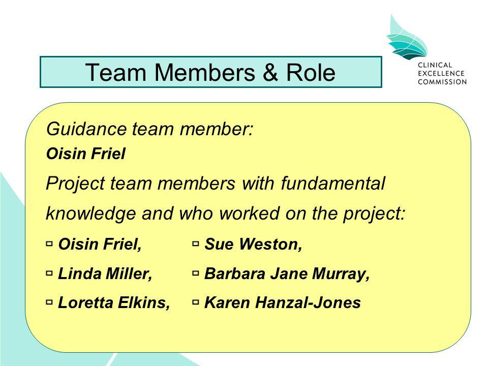 Team Members & Role Guidance team member: