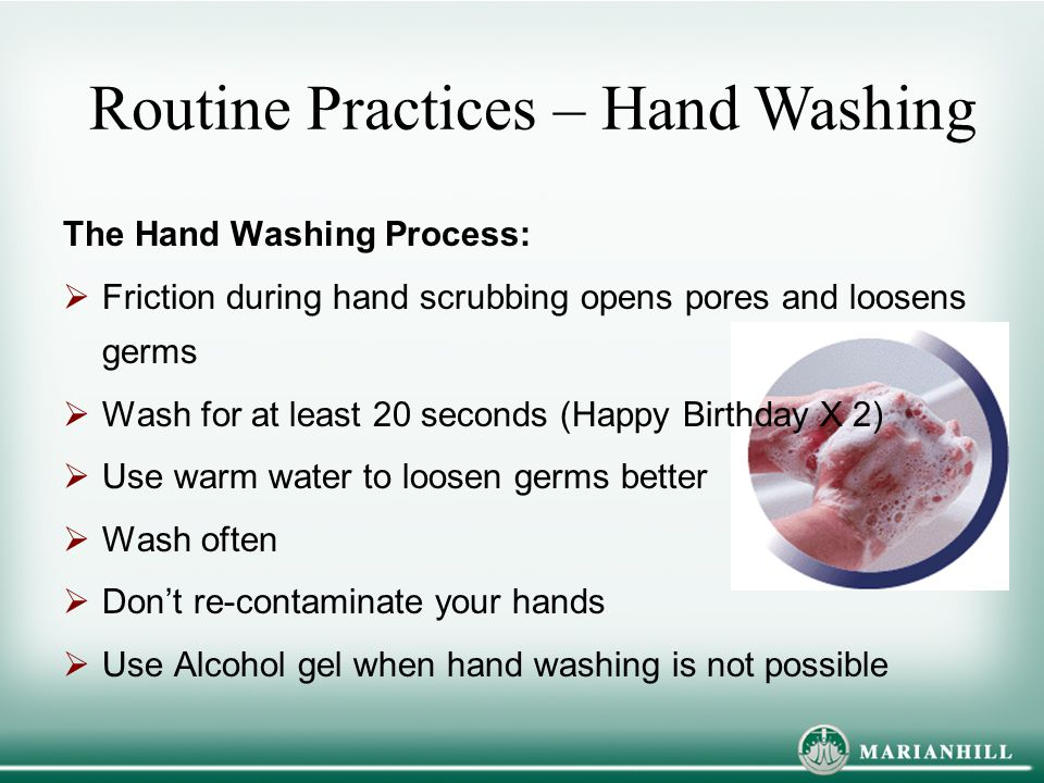 Routine Practices – Hand Washing