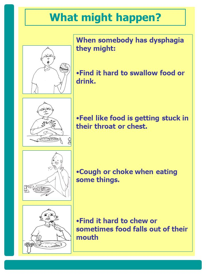What might happen When somebody has dysphagia they might: