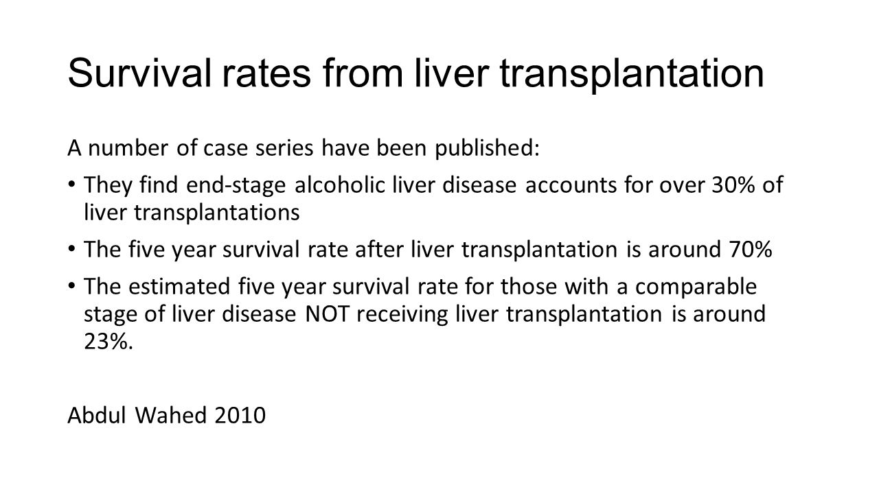 Survival rates from liver transplantation