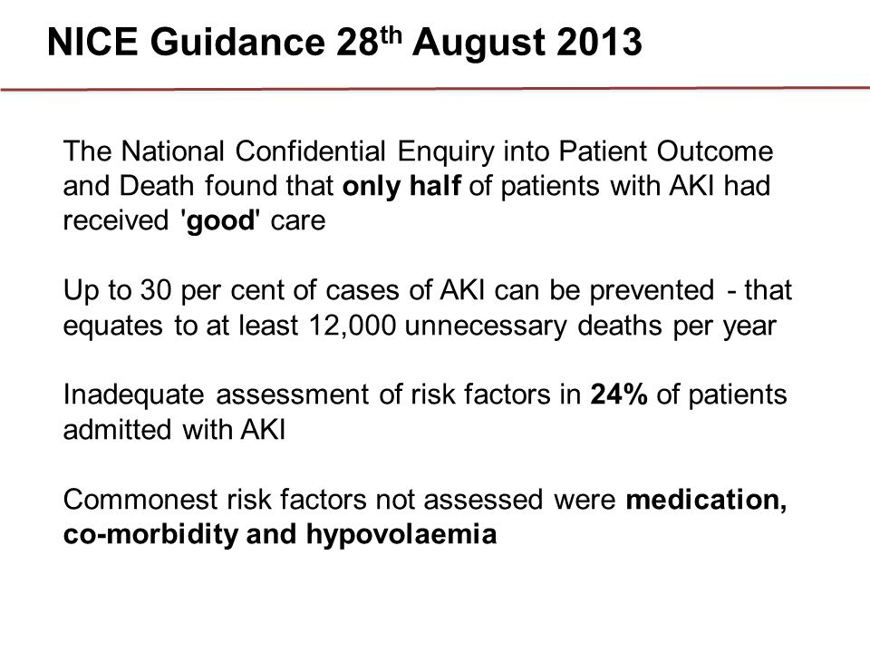 NICE Guidance 28th August 2013
