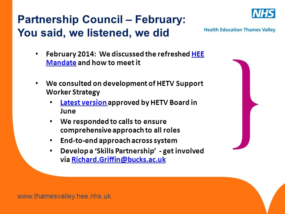 Partnership Council – February: You said, we listened, we did