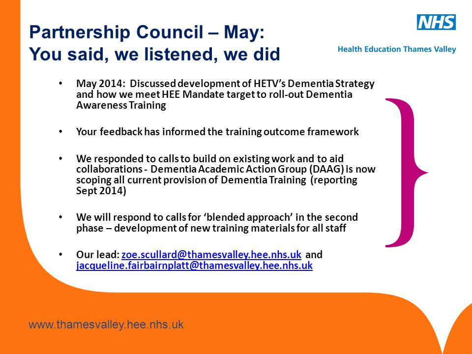 Partnership Council – May: You said, we listened, we did