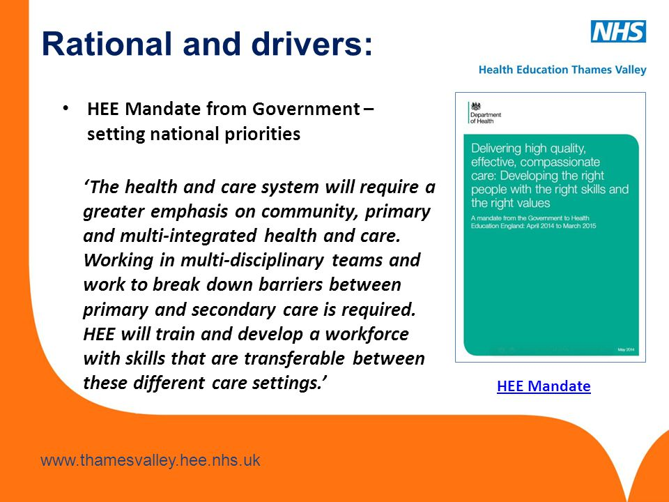 Rational and drivers: HEE Mandate from Government – setting national priorities.