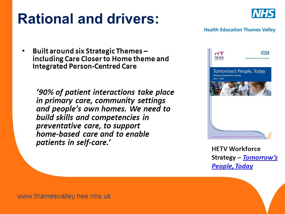 Rational and drivers: Built around six Strategic Themes – including Care Closer to Home theme and Integrated Person-Centred Care.