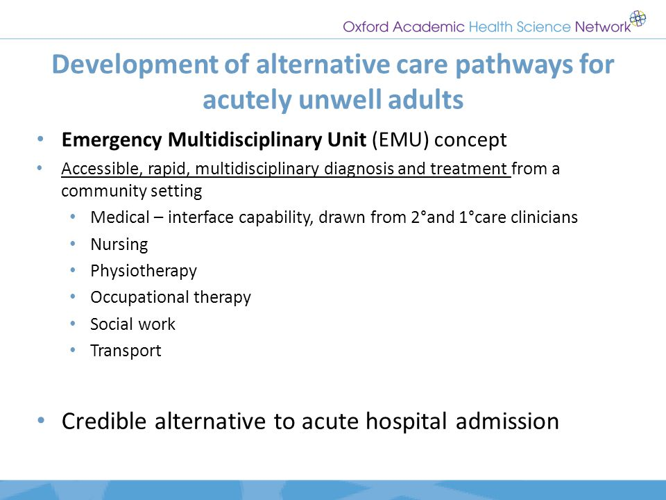 Development of alternative care pathways for acutely unwell adults