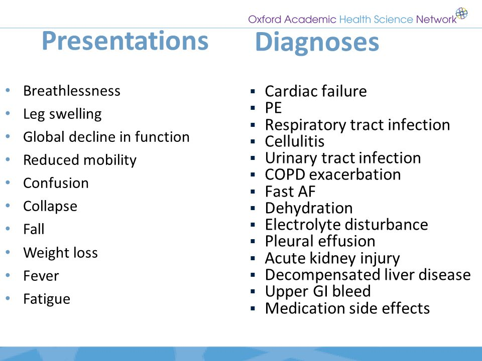 Presentations Diagnoses Cardiac failure PE Respiratory tract infection