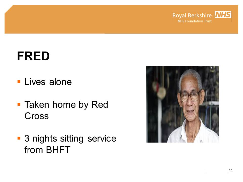 FRED Lives alone Taken home by Red Cross