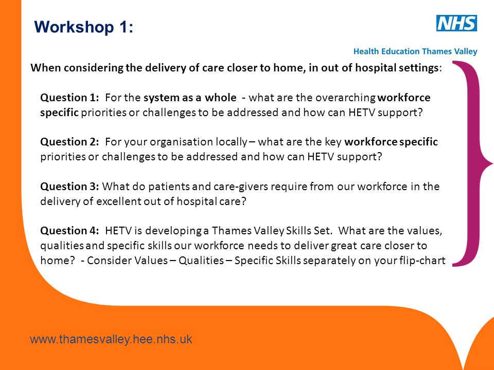 Workshop 1: When considering the delivery of care closer to home, in out of hospital settings: