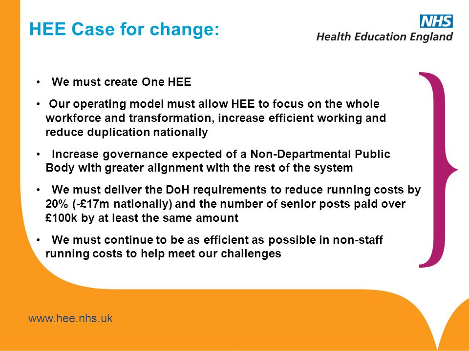 HEE Case for change: We must create One HEE