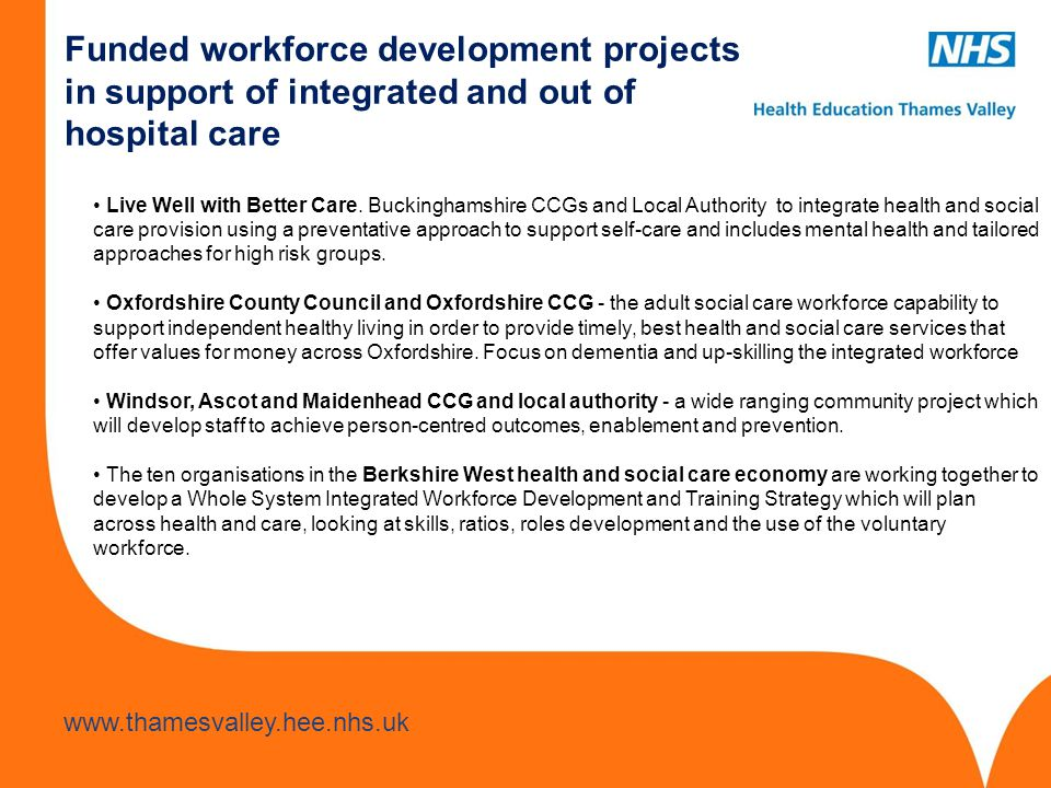 Funded workforce development projects in support of integrated and out of hospital care