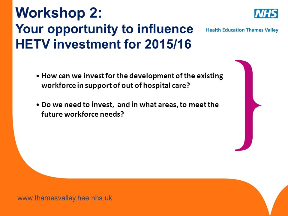 Workshop 2: Your opportunity to influence HETV investment for 2015/16