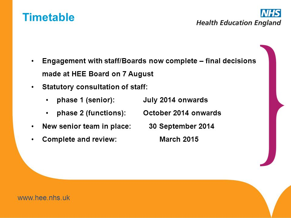 Timetable Engagement with staff/Boards now complete – final decisions made at HEE Board on 7 August.