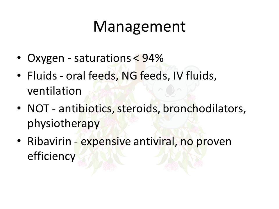 Management Oxygen - saturations < 94%