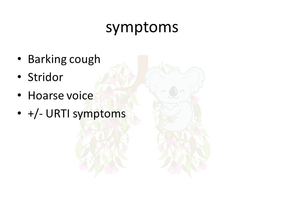 symptoms Barking cough Stridor Hoarse voice +/- URTI symptoms