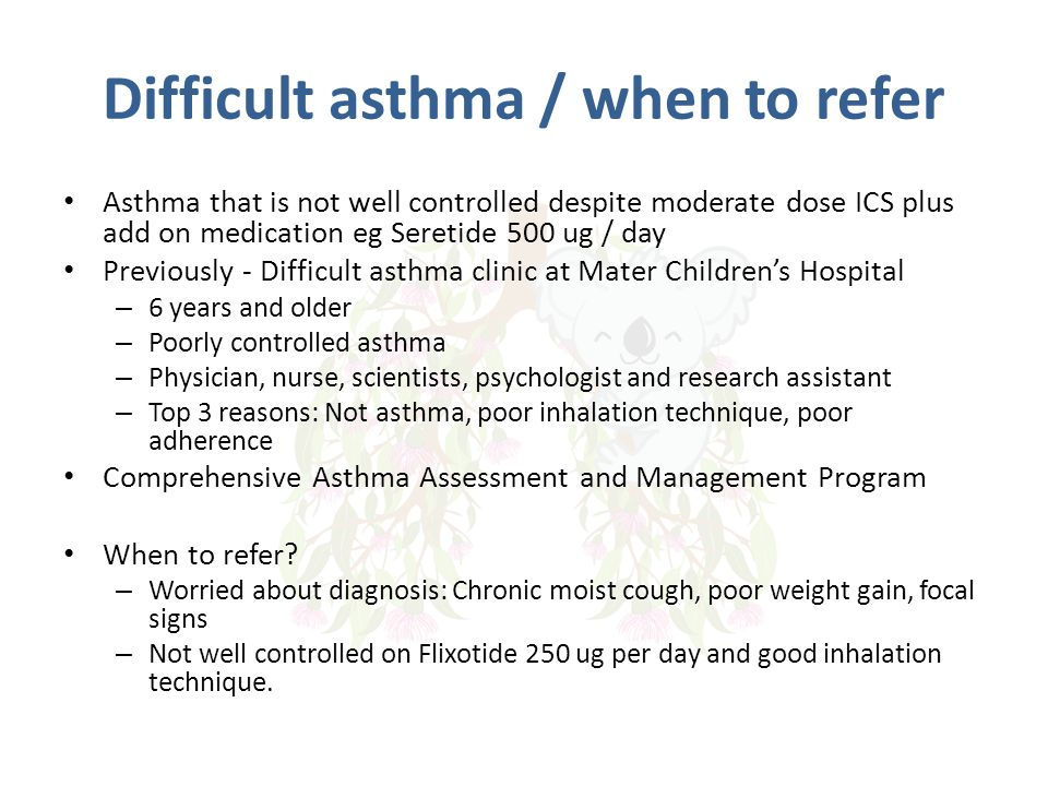 Difficult asthma / when to refer