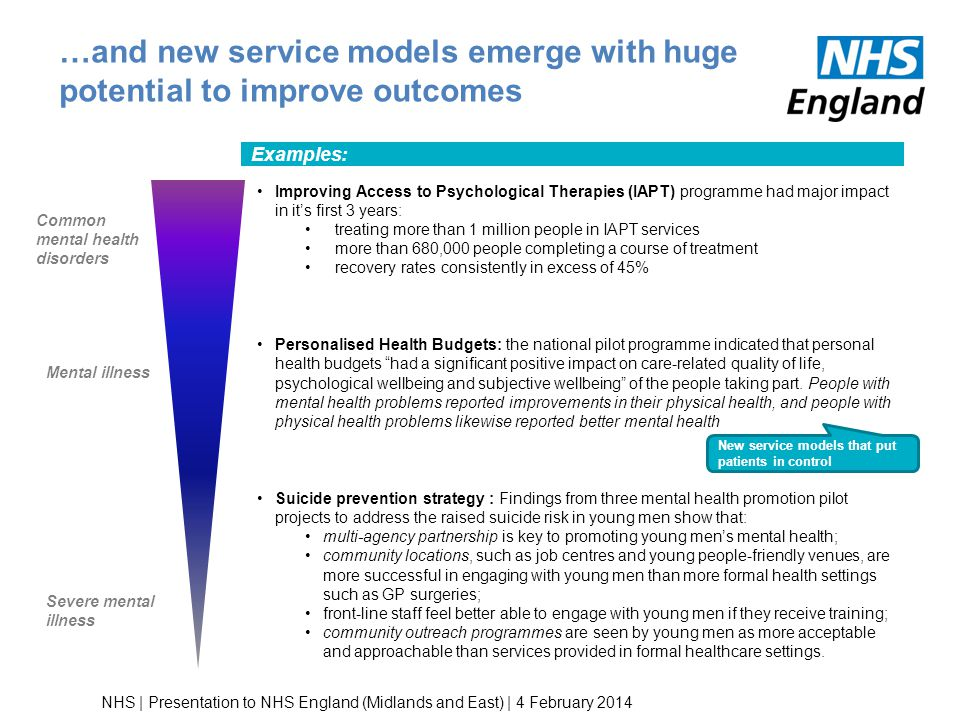 …and new service models emerge with huge potential to improve outcomes