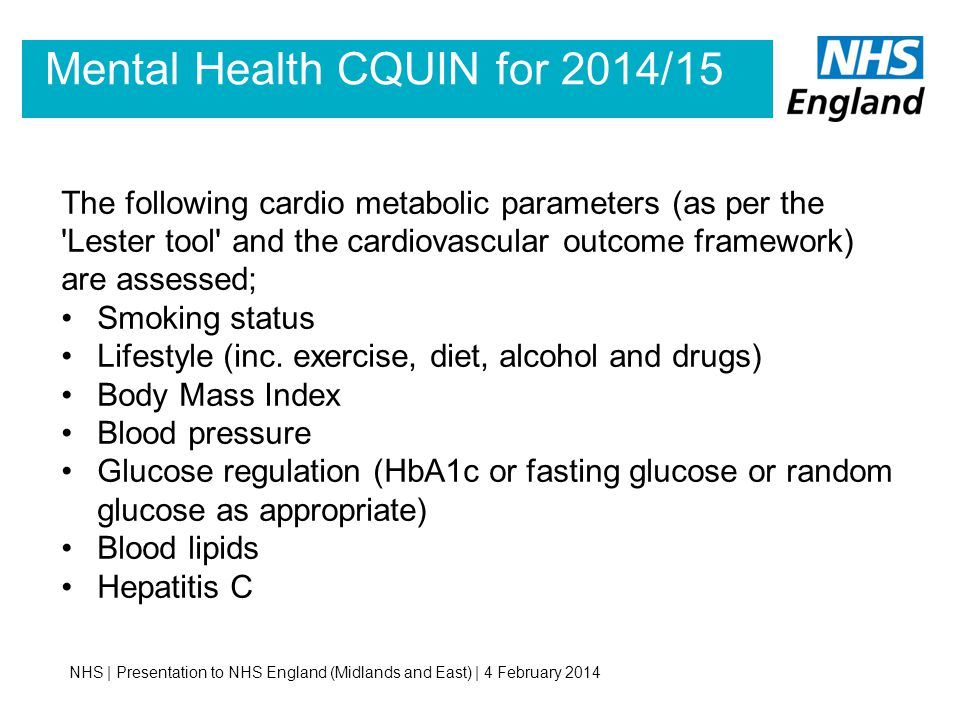 Mental Health CQUIN for 2014/15