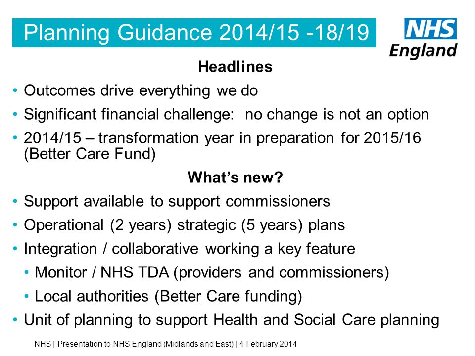 Planning Guidance 2014/15 -18/19 Headlines
