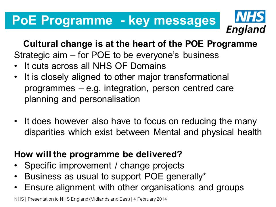 PoE Programme - key messages