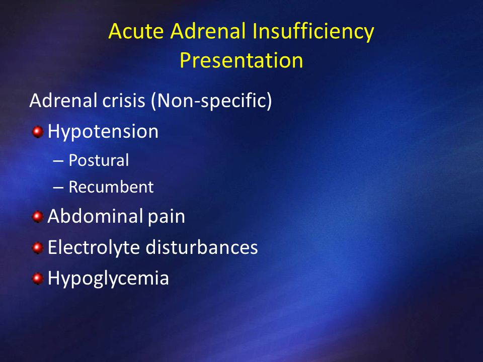 Acute Adrenal Insufficiency Presentation