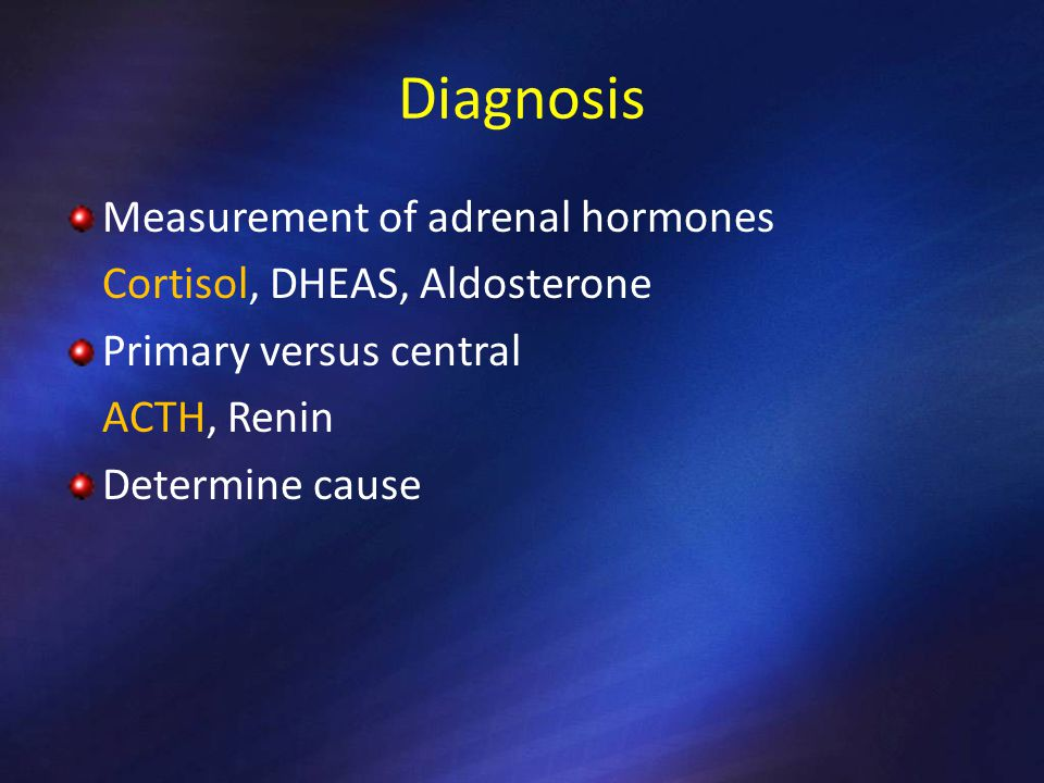 Diagnosis Measurement of adrenal hormones Cortisol, DHEAS, Aldosterone