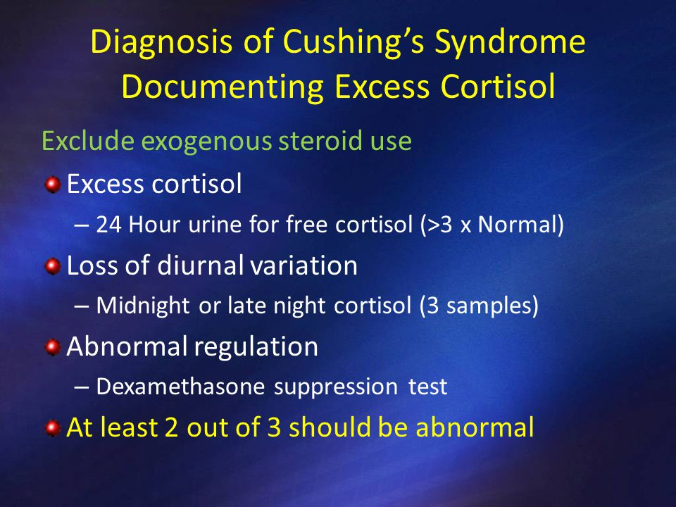 Diagnosis of Cushing's Syndrome Documenting Excess Cortisol