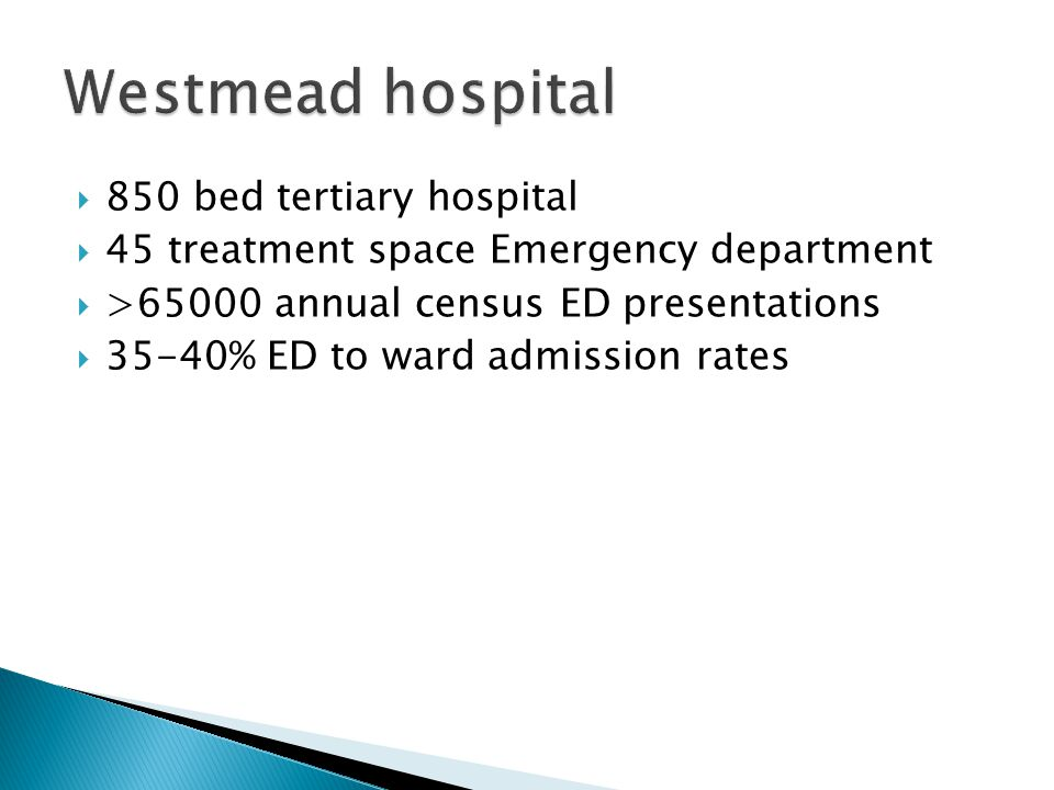 Westmead hospital 850 bed tertiary hospital