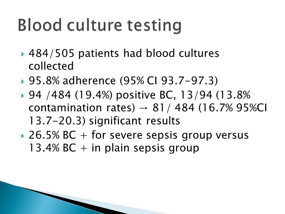 Blood culture testing 484/505 patients had blood cultures collected