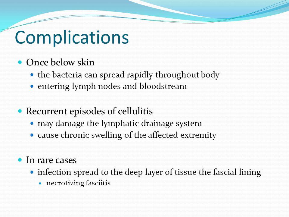 Complications Once below skin Recurrent episodes of cellulitis