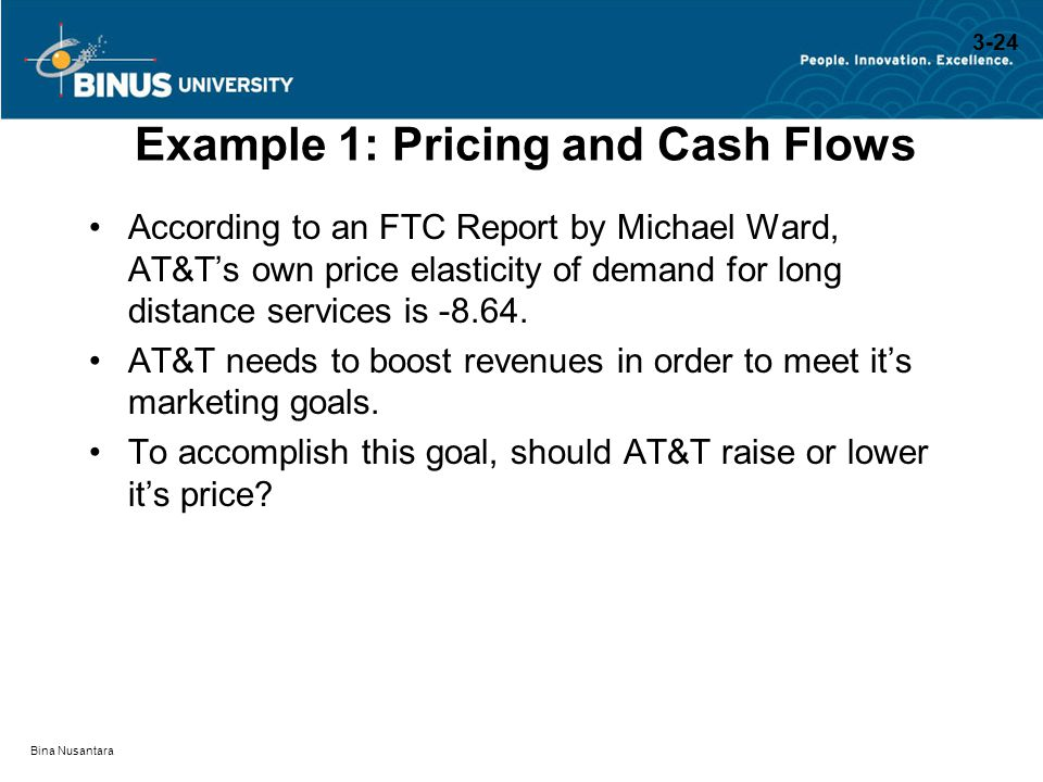 Example 1: Pricing and Cash Flows