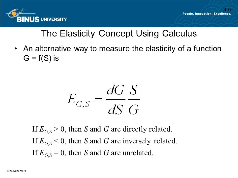 The Elasticity Concept Using Calculus
