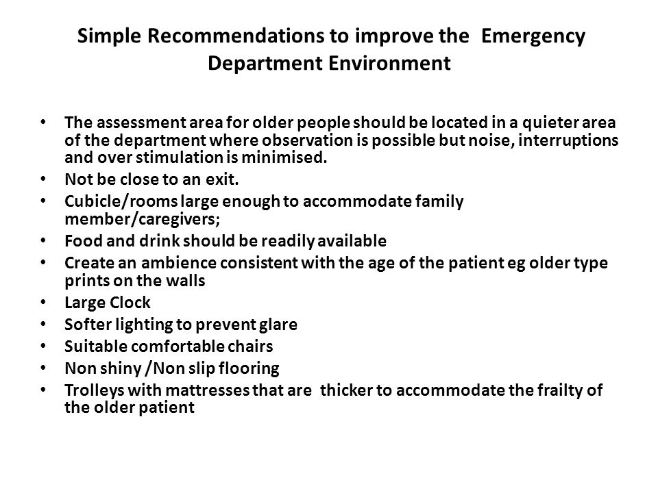 Simple Recommendations to improve the Emergency Department Environment
