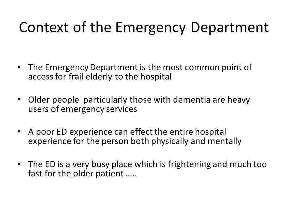 Context of the Emergency Department