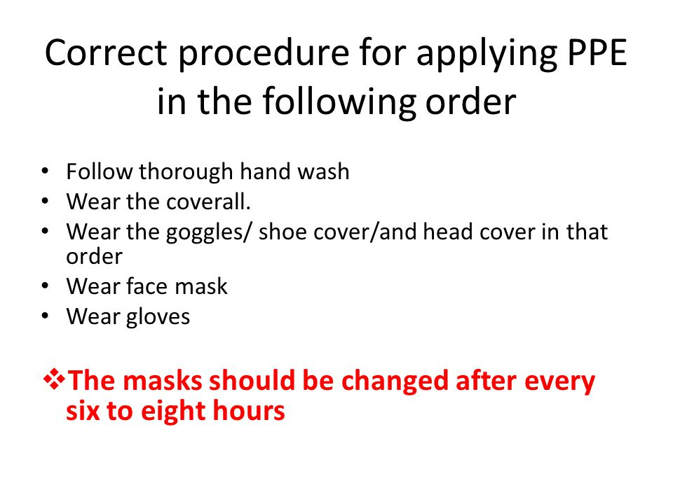Correct procedure for applying PPE in the following order