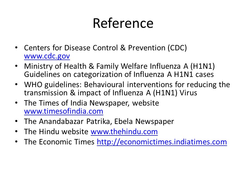 Reference Centers for Disease Control & Prevention (CDC) www.cdc.gov