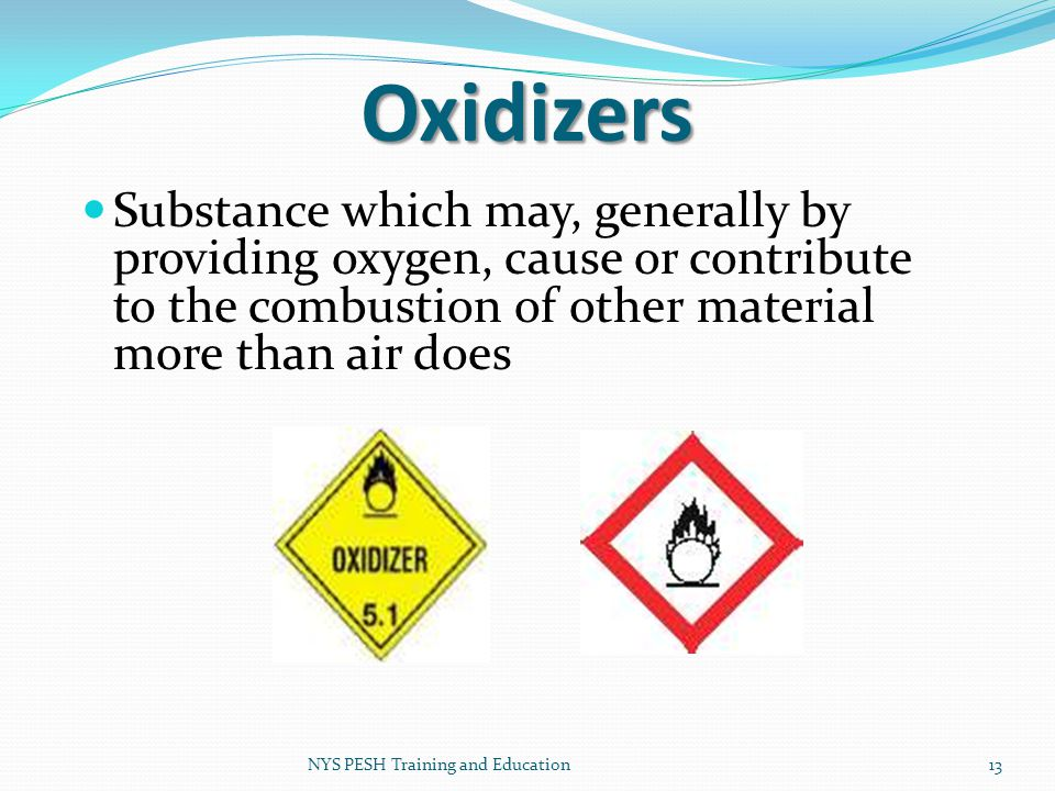 Oxidizers Substance which may, generally by providing oxygen, cause or contribute to the combustion of other material more than air does.