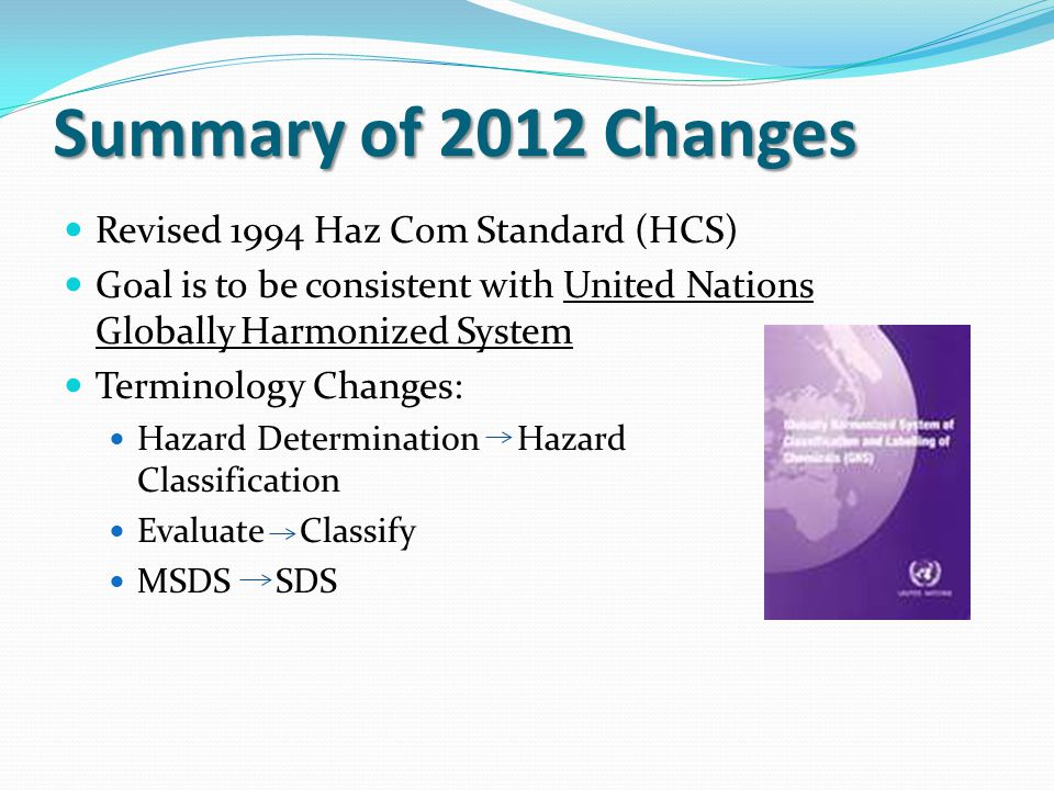Summary of 2012 Changes Revised 1994 Haz Com Standard (HCS)