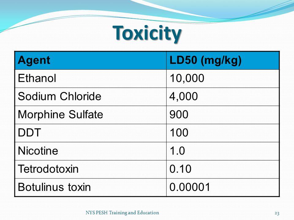 Toxicity Agent LD50 (mg/kg) Ethanol 10,000 Sodium Chloride 4,000