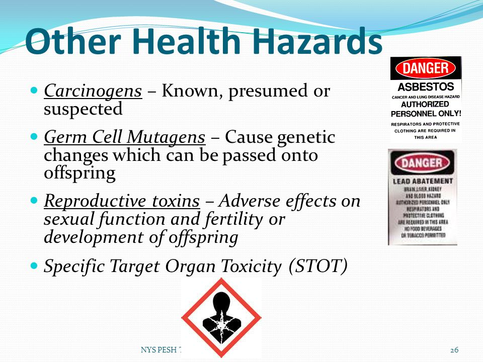 Other Health Hazards Carcinogens – Known, presumed or suspected