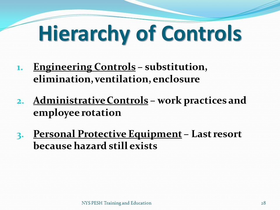 Hierarchy of Controls Engineering Controls – substitution, elimination, ventilation, enclosure.